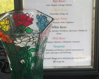 Multi Colored Roses Vase with Framed Special Meanings