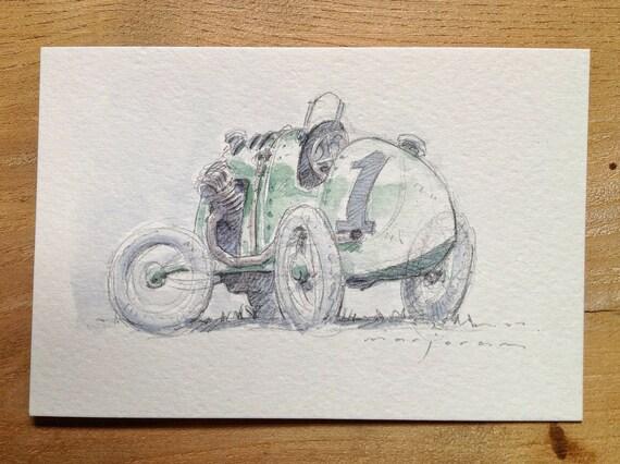 Advent Vintage Car Sketch - Pencil and Watercolour