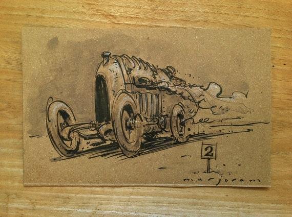 Advent Vintage Car Sketch - Ink and wash