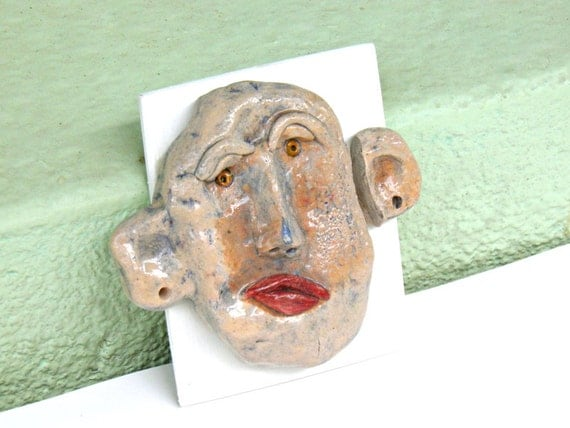 Ceramic wall art face - ceramic face - ceramic art - handmade ceramic