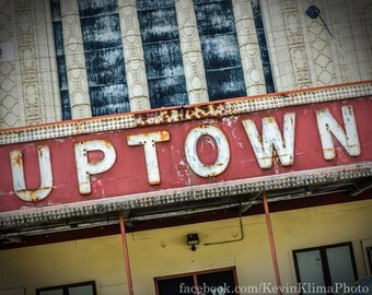 Uptown Chicago Photography Print vintage sign photo
