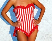 Circus Showgirl Costume Striped Candy Cane Burlesque Bustle S/M