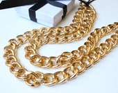 Double Layer Gold Chunky Curb Chain Necklace