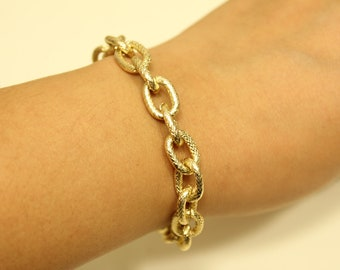 Small Textured Gold Chain Bracelet