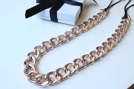 Short Rose Gold Chunky Curb Chain Necklace