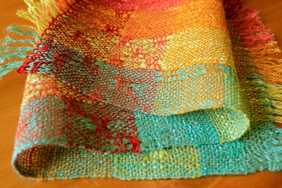 RESERVED for Augiejen: Handwoven linen red orange yellow and green table runner