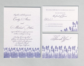Printable Botanical Wedding Invitation - Lavender Wedding
