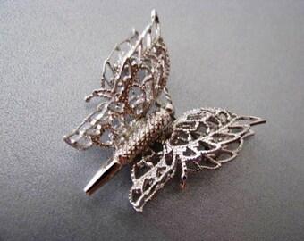 Vintage Monet - Monet Brooch - Silver Butterfly Brooch