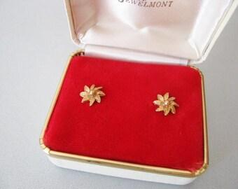 Styled by Jewelmont Studs  - Flower Earrings in Box - Post Goldtone Earrings