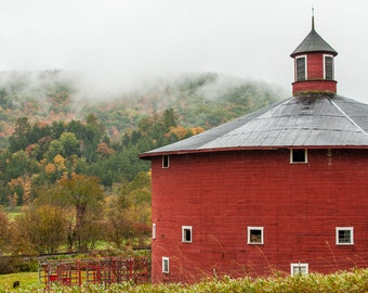 The Round Barn -  Nature photography, landscape photography, fall, autumn, fine art print, barn, round barn, leaves, Vermont, new england