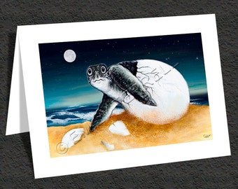 Sea Turtle Hatchling - Happy Birthday Note Card