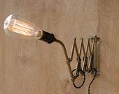 Vintage Industrial Scissor Lamp / Machine Age Accordion Light - HbernationRstoration