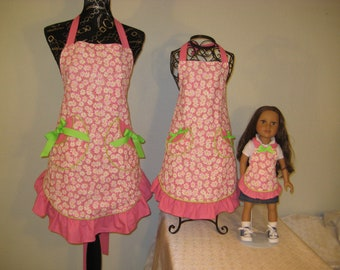 Matching Mother, Daughter, and Doll Apron Set