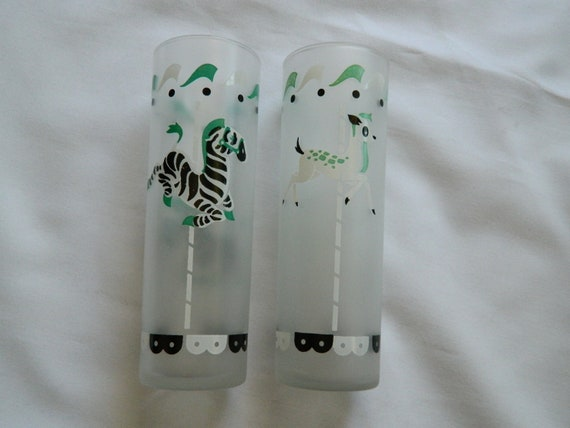 Carousel animal frosted tumbler glass set of 2- 1950s
