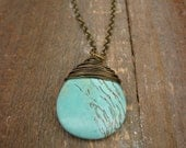 Boho Necklace- Turquoise colored Magnasite