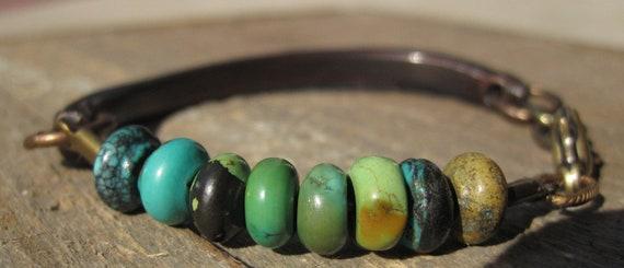 Turquoise, Copper, & Brass Bracelet- Raw-Organic- Beauty