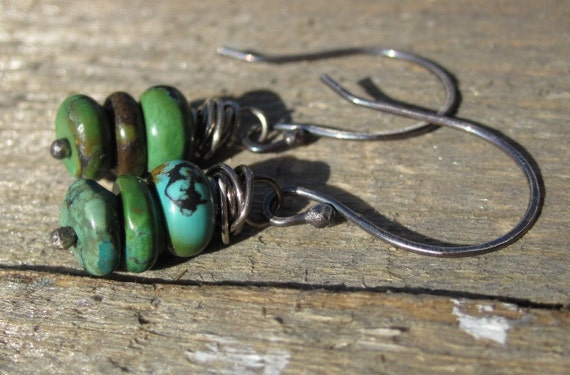 Bohemian Turquoise Earrings- Sterling Silver ear wires, turquoise stones, earthy, natural, simplistic