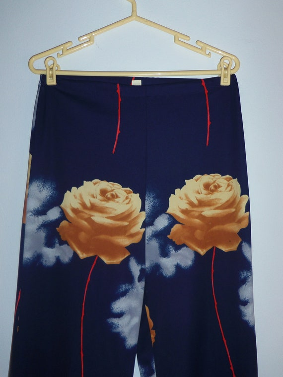 1970s funky wide leg rose and cloud pants - size 11/12 (M-XL)