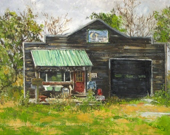 Plymouth Mi OLD FEED STORE Landscape Painting- Original Oil