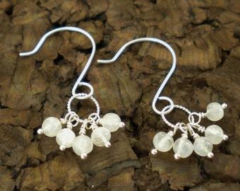 Rainbow Moonstone and Sterling Silver Dangle Earrings / Summer Wedding / Beach Bridal / June Birthstone/ E30
