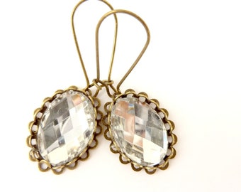 Clear rhinestone earrings Vintage style earrings clear white rhinestone brass