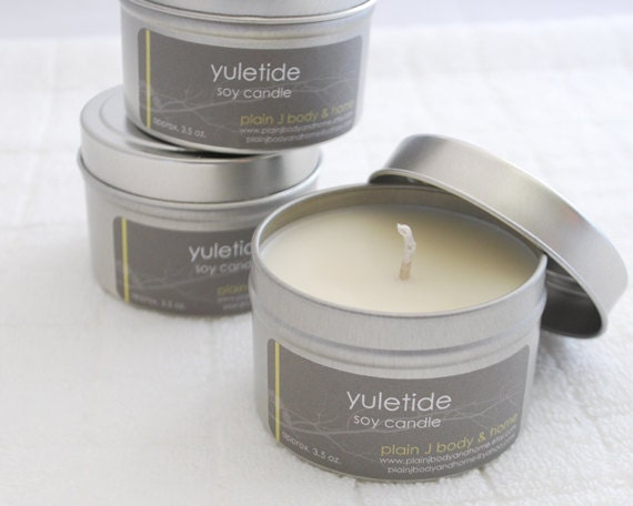 CLEARANCE Yuletide Soy Candle Tin 4 oz. - cedarwood orange scented soy candle