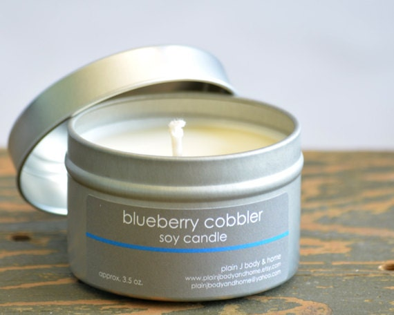 SALE - Blueberry Cobbler Soy Candle Tin 4oz. - fresh baked blueberry scented soy candle