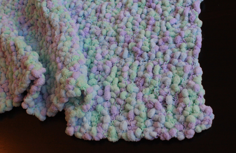 Chenille pom-pom yarn baby blanket lilac mint by fionagraham