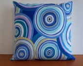 Pillow cover blue, purple, teal circles Kaffe Fassett Targets print 16 inch