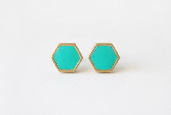 Turquoise hexagon stud earring