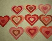 "40 Felt Hearts - 1"" x 7/8"" to 5 3/8"" x 4.5"" - Pink"