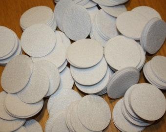100 White Felt Circles - 1.5 inches