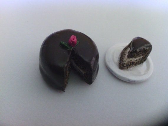 Miniature Chocolate Cake with slice of cake on plate