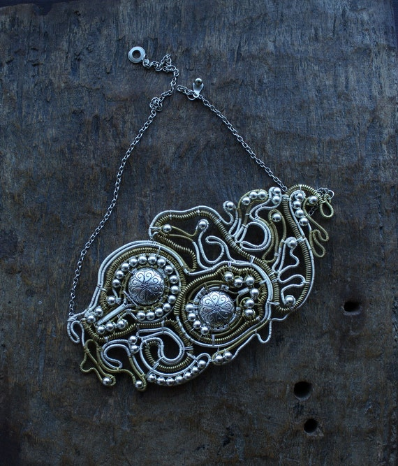 Silver Plated and Brass Wire Necklace Galaxy  - Custom order for Tequila