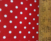 "Poly Cotton Small White Polka Dot Print on Red Background Fabric 60"" Fabric by the Yard - 1 Yard"