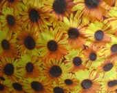 "Poly Cotton Print Large Sunflowers 60"" Fabric by the Yard - 1 Yard"