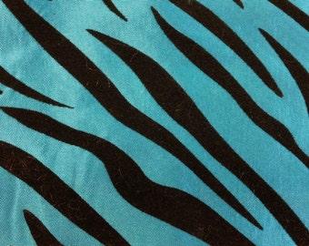 Taffeta Flocking Zebra Turquoise 58 Inch wide Fabric by the Yard, 1 yard.