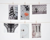 Postcard Set Paris Black and White Minimalist Collection Set of Six Prints 4x6 Framable Art - LoVedoArt