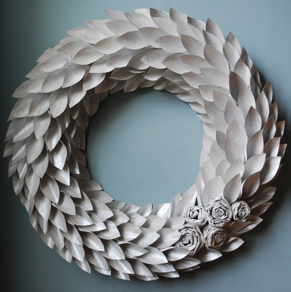 Pearl white modern paper wreath-painted newspaper - large 22 inch newspaper rosette and leaf