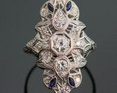 Antique Platinum Diamond and Sapphire Ring