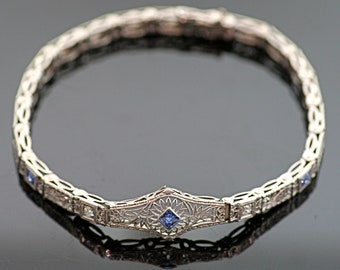 Antique Bracelet - Antique Edwardian Filigree Sapphire and Diamond Bracelet