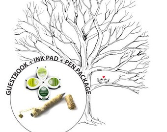 Guestbook Ink Pad Package - Hand Drawn Wedding Guest book Fingerprint Tree Print Poster - Thumbprint Guest Book