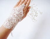 Wedding  gloves, Lace Wedding Accessory, Bridal accessory, Fingerless Gloves, Ivory, Silvery,