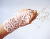 Bridal Gloves, Lace Wedding Accessory, Bridal accessory, Fingerless Gloves, Soft Pink, Asymmetric