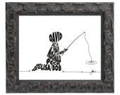 Boy Fishing - Custom Personalized Newborn Print UNFRAMED