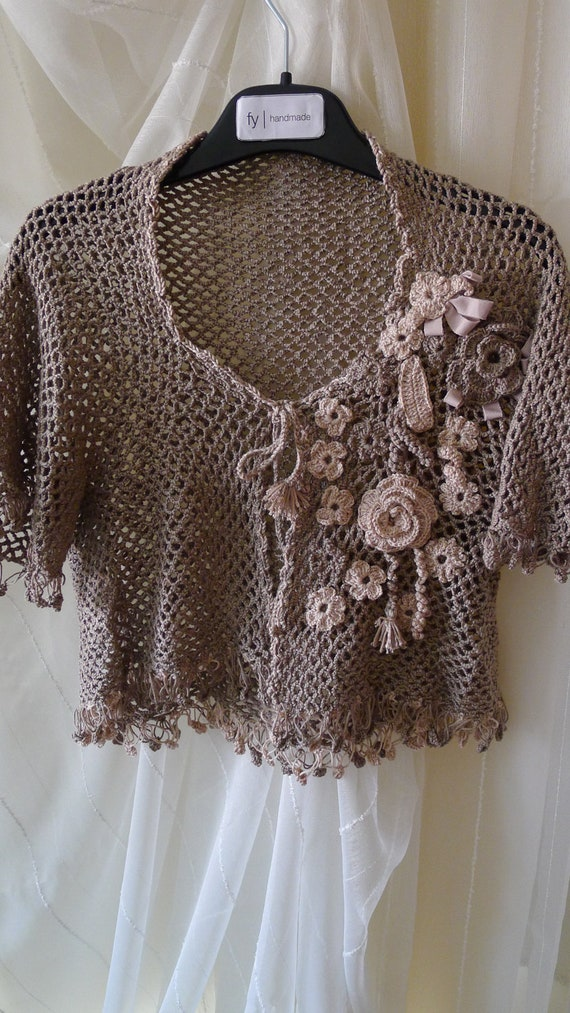 Crocheted Flowered Bolero, mini jacket, light coffee brown and very light  peach puff