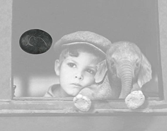 Dream BIG: Engraved Mammoth, Stone River Rock Art, Minimalist