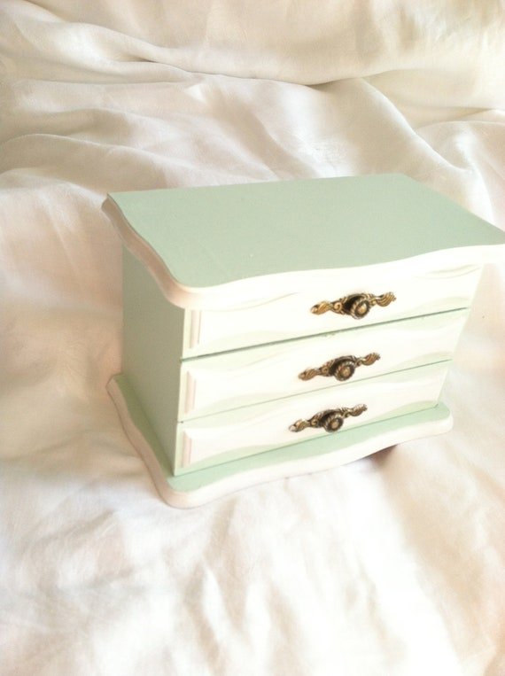 Country Cottage Upcycled Hand Painted Wood Jewelry Box
