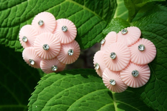 Vintage Earrings 1960s Celluloid Clip-ons Pink with Rhinestones