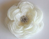 Large wedding hair flower with rhinestone and pearls -wedding hair accessories - bridal hair clip